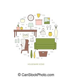 Houseware vector elements. Homewares line icon set. Interior...