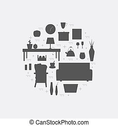 Houseware vector elements. Homewares black icon set....