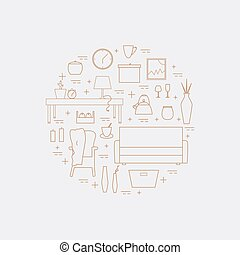 Houseware vector elements. Homewares line icon set on a...