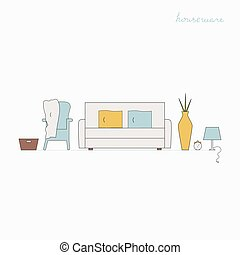 Houseware vector elements. - Interior Design concept. Living...