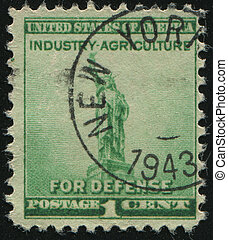 postmark - UNITED STATES - CIRCA 1940: stamp printed by...