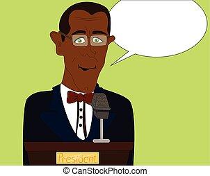 Cartoon Afro American president giving a speech on a podium.