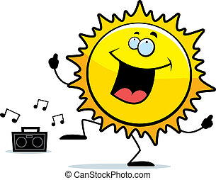 Sun Dancing - A happy cartoon sun dancing and smiling