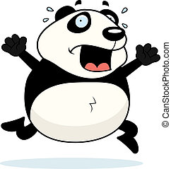 Panda Panic - A cartoon panda running in a panic.