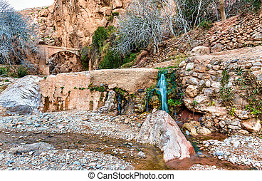 Waterfall at Ait Ibrirn in Dades Gorge valley, Morocco -...