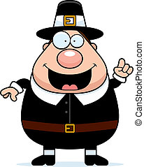 Pilgrim Idea - A happy cartoon pilgrim man with an idea
