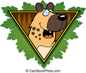 Hyena Safari Icon - A happy cartoon hyena on a safari themed...