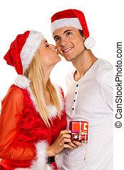 pareja, navidad, santa, Claus, sombreros