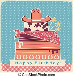 Cowboy happy birthday party card background with cake and cowboy hat