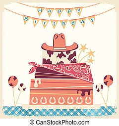 Cowboy happy birthday card with cake and cowboy hat