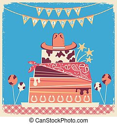 Cowboy happy birthday card for text