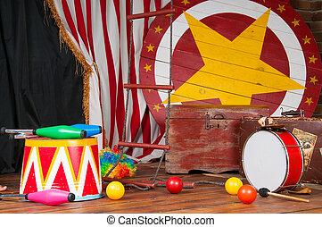 Circus backstage in retro style, drum suitcase. Interior. -...
