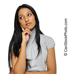 Indian thoughtful girl - Indian woman is deep in thought and...