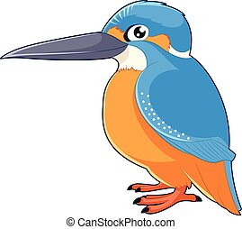 Cartoon smiling Kingfisher - Vector image of the Cartoon...