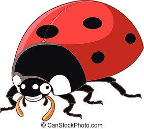Cartoon smiling ladybird