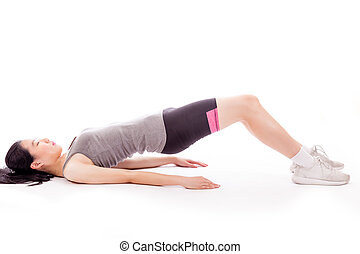 Asian teenager doing stretching exercise - Asian teenage...