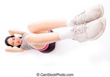 Asian teenager doing situps - Asian teenage girl doing...