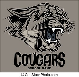cougars mascot - stylized cougars mascot design for school,...