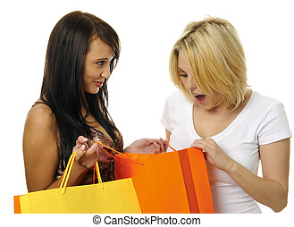 Best friends go shopping - Beautiful blonde and brunette...