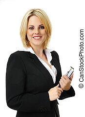 Pretty blonde business woman - Happy young successful woman...