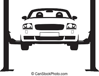 Car Ramp - Vector illustration of a car on a hydraulic ramp
