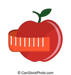 apple fruit icon over white background. colorful design....