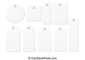 Realistic vector white blank tag icon set isolated on white background