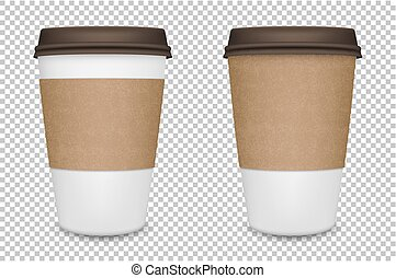 Vector realistic blank paper coffee cup set isolated. Vector...
