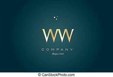 ww w gold golden luxury alphabet letter logo icon template -...