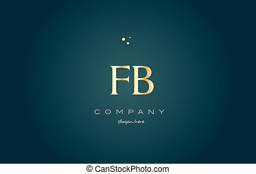 fb f b gold golden luxury alphabet letter logo icon template...