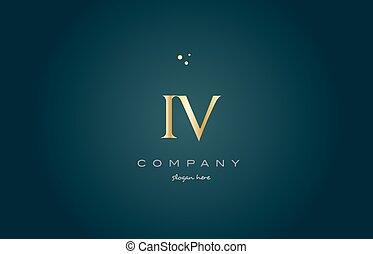 iv i v gold golden luxury alphabet letter logo icon template...