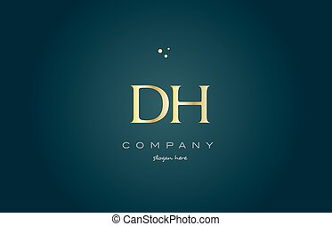 dh d h gold golden luxury alphabet letter logo icon template...