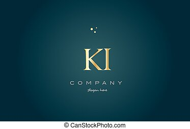 ki k i gold golden luxury alphabet letter logo icon template...