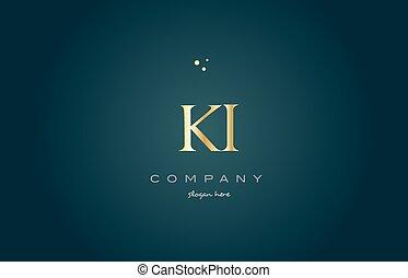ki k i gold golden luxury alphabet letter logo icon template...