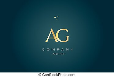 ag a g gold golden luxury alphabet letter logo icon template...