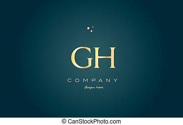 dorado, G, oro, H, lujo, plantilla, alfabeto, carta,...