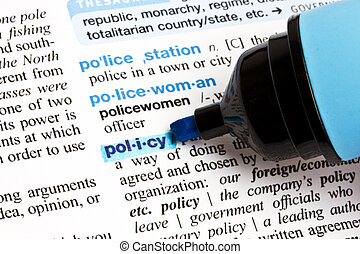 """The word """"Policy"""" highlighted in a dictionary"""