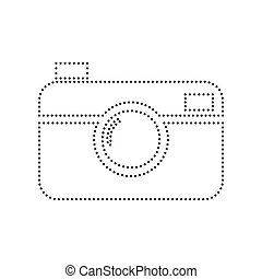 Digital photo camera sign. Vector. Black dotted icon on...