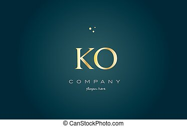 ko k o gold golden luxury alphabet letter logo icon template...