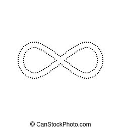 Limitless symbol illustration. Vector. Black dotted icon on white background. Isolated.