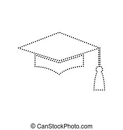 Mortar Board or Graduation Cap, Education symbol. Vector. Black dotted icon on white background. Isolated.