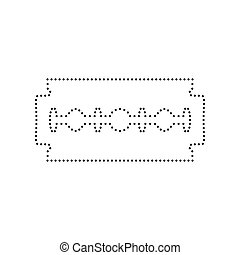 Razor blade sign. Vector. Black dotted icon on white background. Isolated.