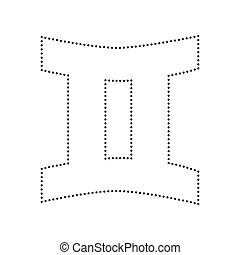 Gemini sign. Vector. Black dotted icon on white background. Isolated.