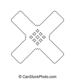 Aid sticker sign. Vector. Black dotted icon on white background. Isolated.