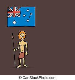 Australian aborigine and flag