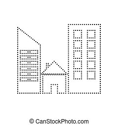 Real estate sign. Vector. Black dotted icon on white background. Isolated.