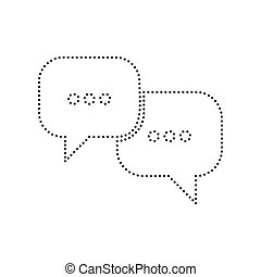 Speech bubbles sign. Vector. Black dotted icon on white...
