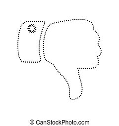 Hand sign illustration. Vector. Black dotted icon on white background. Isolated.