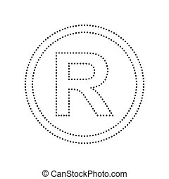 Registered Trademark sign. Vector. Black dotted icon on...