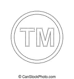 Trade mark sign. Vector. Black dotted icon on white...